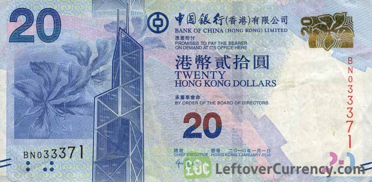 20 Hong Kong Dollar Note